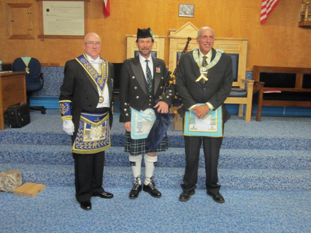 Dyment Lodge DDGM Official Visit Dec 10th, 2015. R.W. Bro. John Henry Lewis, W. Bro. Cliff Graham and W. Bro. Ben Webster (Worshipful Master of Dyment Lodge Thessalon).